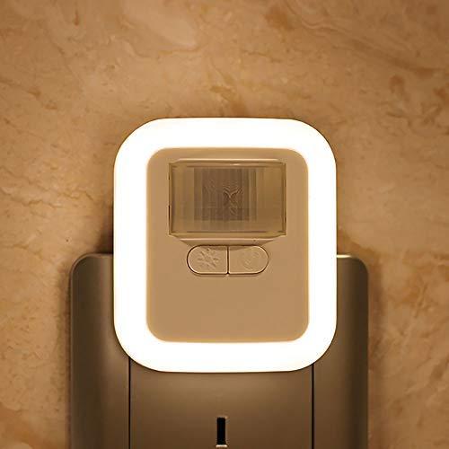 Lixada Lámpara de Noche Luz de Sensor de Movimiento + Enchufe LED, Voltaje de entrada110-240V, con Brillo 30s / 60s / 90s / 120s Ajustable para dormitorio, baño,etc.