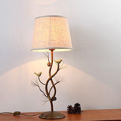 Nordique rétro chambre lampe de chevet pays américain créatif bar lampe de table en osier oiseaux d'ananas E27
