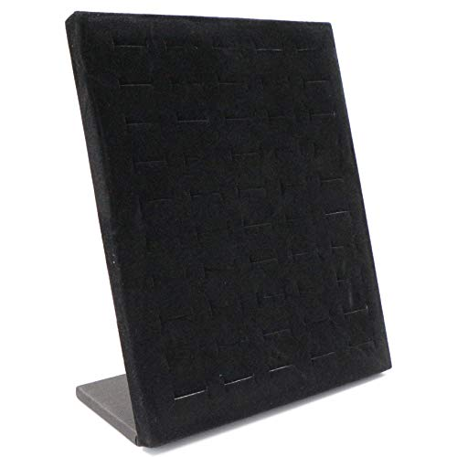 Soporte para Joyas - Grises Terciopelo Expositores Organizador de Pendientes con 50 Agujeros (25 Pares) - Porta Pendientes Forma de L - Colgador Pendientes - Expositor Pendientes - Color Negro