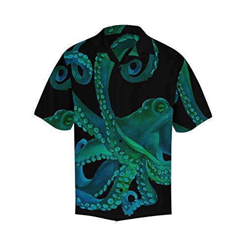 InterestPrint Men's Casual Button Down Short Sleeve Blue Watercolor Octopus Hawaiian Shirt XL