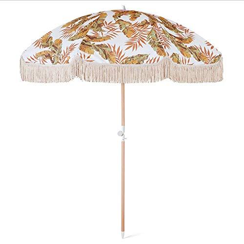 LHSUNTA La sombrilla de Playa con Flecos para Exteriores de 6,8 pies / 210 cm con un diseño Impreso en Tela de poliéster agrega Colores Vivos a la terraza del jardín y el Patio.