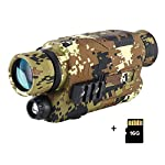 BOBLOV 5x32 Optics Scope Digital Night Vision Monocular Target Focus Infrared Monoculars with 1.5in TFT LCD PJ2 Camouflage Color with 16GB Card for Hunting and Wildlife Observe