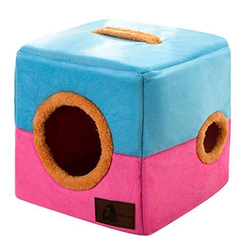 GEG Pet Cat Dog Nest Dual Use Warmes, weiches Schlafbettpolster für rutschfeste, atmungsaktive Cat House Dog-Schlafmatte für Haustiere, Stil 2, blau, pink, XL