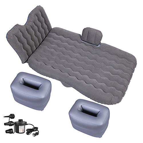 Back Seat Inflatable Portable Mattress for Travel And Outdoor Camping Inflatable Mattress, 2 Pillows, Inflatable Footrest, Electric Pump,Gray