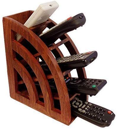 Wooden Remote Stand with 5 Compartment Remote Organizer Desk Top Organizer Storage Caddy Box Handmade Remote Storage Box Multi Remote Control Holder Rack for Space Saving Remote Holder