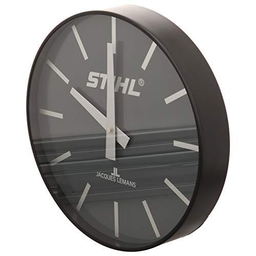Stihl Wanduhr Quarzuhr schwarz von Jacques Lemans/Durchmesser 30 cm