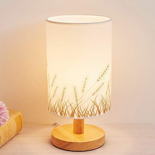Lámpara de Mesa Mesita de luz de la lámpara simple moderna lámpara de escritorio de madera con tono de base y de la tela, minimalista Mesilla de noche de la lámpara for el dormitorio de estar Oficina