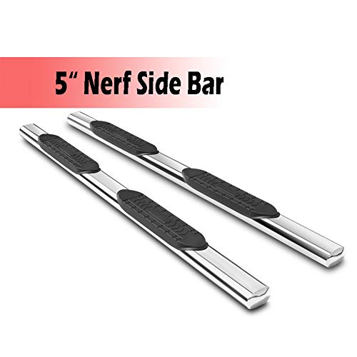 U-Drive 5 Side Step Rails Full Length Running Boards for 2009-2018 Dodge Ram 1500 Quad Cab/2010-2018 Dodge Ram 2500 3500 Quad Cab, Non-Slip Surface Exterior Accessories, Silver Stainless Steel Build