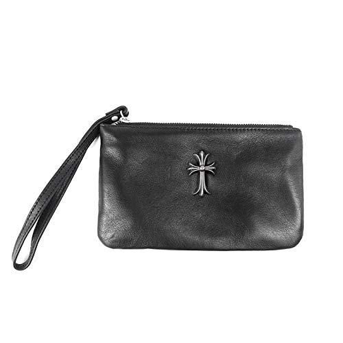 Greneric Vintage Kreuz handgemachte Leder Cross-Wallet Cowkin Tasche Herren und Frauen Handy Wechseltaschen Schwarz