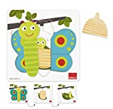 Goula - Puzzle mariposa en 3 niveles, 8 piezas de madera (Diset 53121) , color/modelo surtido