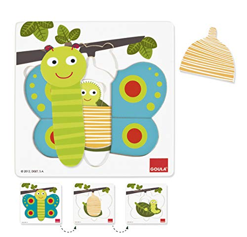 Jumbo Spiele Goula D53121 - Holzpuzzle 3 Stufen Schmetterling, 8-teilig