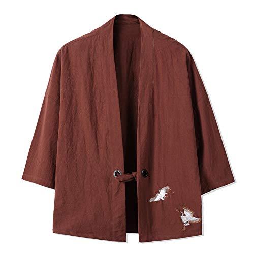 Abrigo Capa Básico Cuello Mao Manga 3/4 para Hombre Vintage Kimono Chaqueta Café M