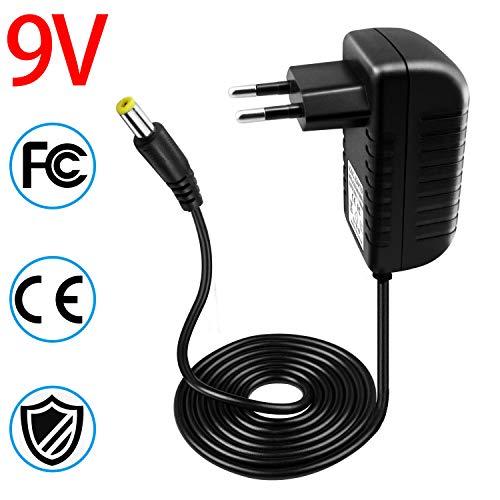 SunTop Transformador 9V Adaptador de corriente de 9V 1A 5,5 x 2,1mm Adaptador del Convertidor 100-240V DC Fuente de alimentación cargador de pare