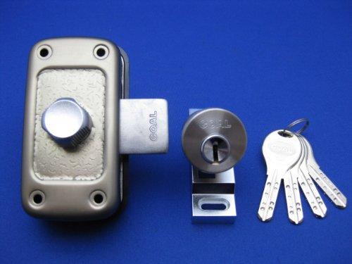 ゴールV-MDU-5面付補助錠 ステン色 純正4本キー付