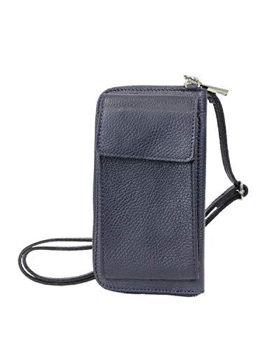 irisaa kleine Damen Leder Umhängetasche Schultertasche - Echtleder Crossbody Handtasche Geldbörse Handy Mini-Tasche Verstellbarem Schultergurt, Multifunktion, Damen Tasche:Navy