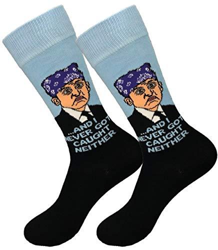 Balanced Co. Prison Mike Dress Socks Michael Scott Funny Socks Crazy Socks Casual Cotton Crew Socks (Black/Light Blue)