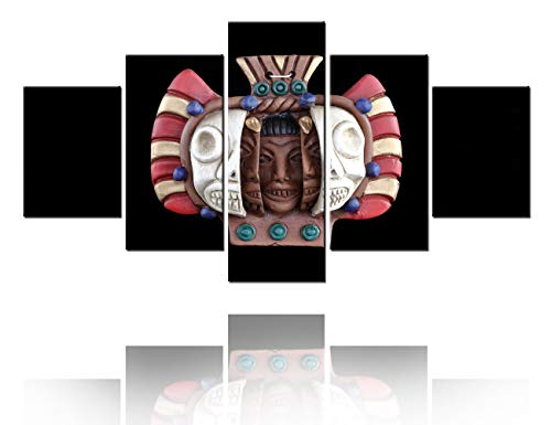 "TUMOVO Modern Artwork Abstract Mayan Mask Pictures Ancient Aztec Paintings for Living Room Multi Panels Prints Wall Art on Canvas House Decor Gallery-Wrapped Framed Ready to Hang(60""WX32""H)"