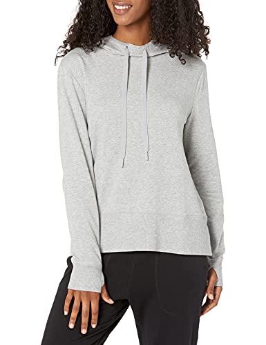 Amazon Essentials Women's Studio Terry Long-Sleeve Convertible Hood Shirt, Light Grey Heather, M