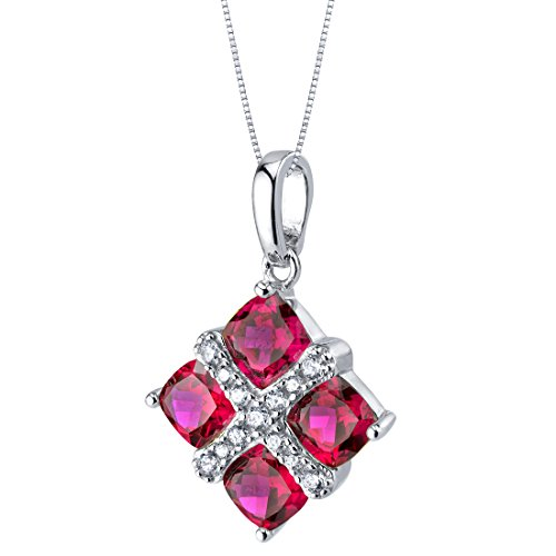 Sterling Silver Faceted Ruby Pendant - 2