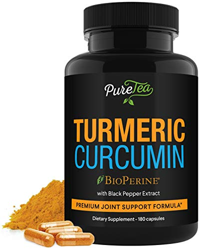 Turmeric Curcumin 95% High Potency Curcuminoids 1950mg with Bioperine Black Pepper for Best Absorption, Made in USA, Best Vegan Joint Support, Turmeric Capsules by PureTea - 180 Capsules