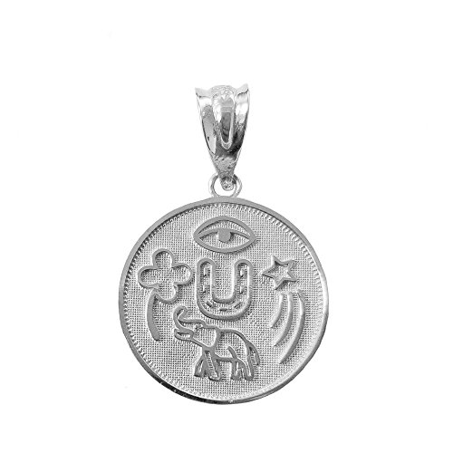 925 Sterling Silver Lucky Charms Amulet Good Luck Medallion Pendant