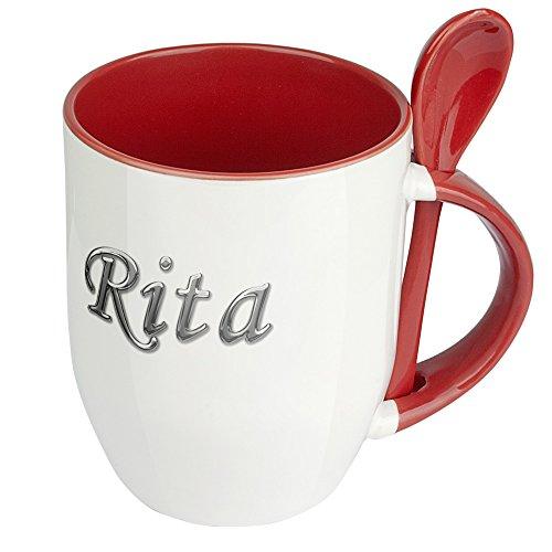 Namenstasse Rita - Löffel-Tasse mit Namens-Motiv Chrom-Schriftzug - Becher, Kaffeetasse, Kaffeebecher, Mug - Rot
