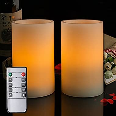 Homemory 5  Real Wax Flameless Flickering Candles Battery Operated LED Pillar Candles, with Remote Control & Convenient Timer for Wedding, Party, Festival (Pack of 2)