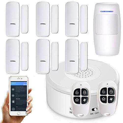 Nouveau - APP Version Française - WI-FI - Alarme de Maison sans Fil -1 Sirène - 6 Détecteurs d'Ouverture - 1 de Mouvement - 2 Tél - 8 Autocollants - Alarme de Porte
