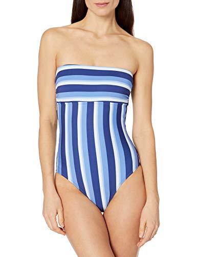Splendid Women's Bandeau Lace Up One Piece Swimsuit, Parallel Stripe Navy, M