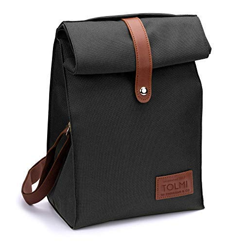 Insulated Lunch Bag by KRYO - Small reusable cooler bag - A travel lunchbox with shoulder strap for Adult men and women - Portable waterproof lunchboxes for work the office the beach school Black
