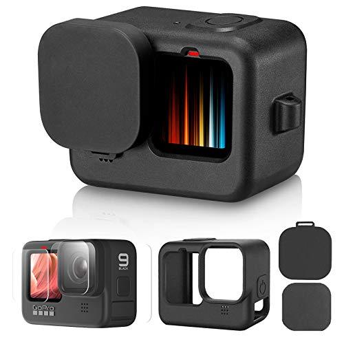 Lammcou Funda Protectora de Silicona de Repuesto para GoPro Hero 9 Black + Protector de Pantalla de Vidrio Templado + Cubierta de Lente, Carcasa de Silicona Compatible con GoPro Hero 9