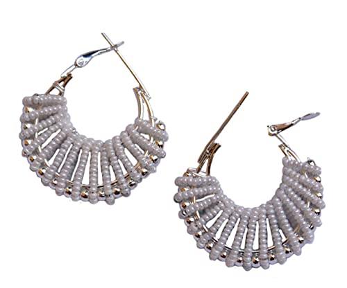 Pahal - Pendientes de aro de plata oxidada Jhumka Jhumki con perlas blancas para mujer