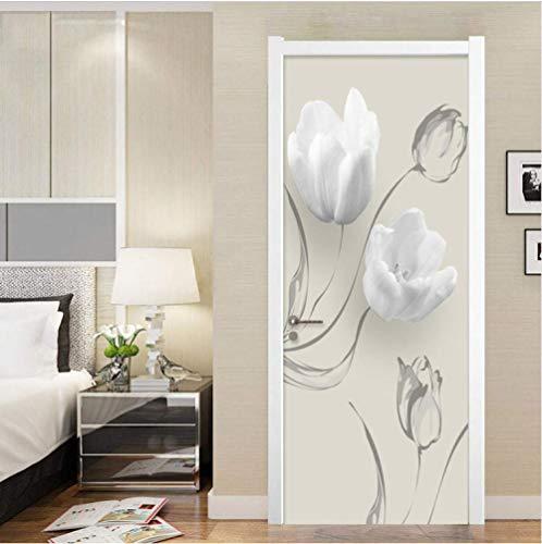ZZDGFC 3D Türaufkleber weiße Blume PVC Selbstklebende wasserdichte Abnehmbare Art Decals für Dekoration Wandbild 88 * 200 cm