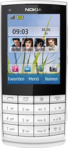 Nokia X3-02 Handy (6.1cm (2.4 Zoll) Touch&Type Display, Bluetooth, WLAN, microSD, 5 MP Kamera) white silver (Generalüberholt)