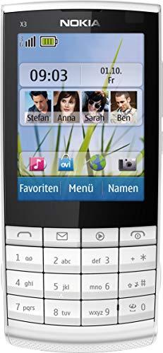 Nokia X3-02 Handy (6.1cm (2.4 Zoll) Touch&Type Display, Bluetooth, WLAN, microSD, 5 MP Kamera) white silver (Generalüberholt)