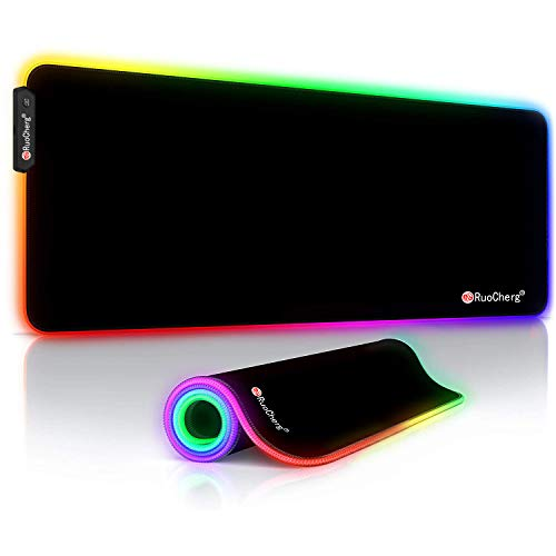 RuoCherg RGB Mauspad, 9 LED Farben 12 Beleuchtungs-Modi 800 x 300 mm Gaming Mousepad mit Wasserdicht Oberfläche, Rutschfeste Gummibasis Mouse Matte für Professionelle Gamer, PC, Laptop