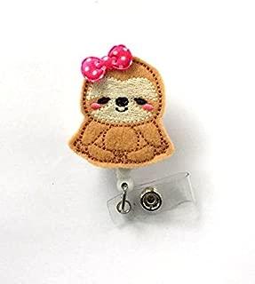 Sloth with Bow Badge Holder - Felt Badge Holder - Unique Name Badge Holder - Cute Badge Reel - Nursing Badge - Felt Badge Reel - Animal Badge - Teacher ID Badge - Nursing Badge - Gift Under 10 - Vet Tech Badge