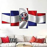 GHYTR Bandera De Republica Dominicana Lienzo 5 Piezas Abstracto Pared Arte Pintura Grandes Cuadros Marco 150×80Cm Cartel Pared Decoracion Hogar Murales Pared Sala Dormitorio Regalo