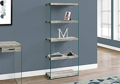 Monarch Specialties Bookcase - 5-Shelf Etagere Bookcase - Contemporary Look with Tempered Glass Frame Bookshelf - 60'H (Grey)