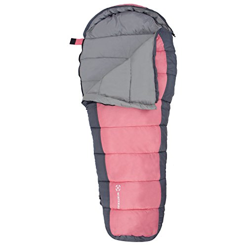 Winterial Kids Sleeping Bag, Youth Mummy Bag for Camping, 40 Degrees Temperature Rating, Pink