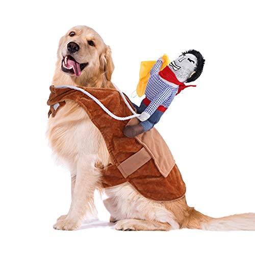 Nobleza Disfraces para Perro y Gato,Disfraz de Mascota para Fiesta de Halloween Cosplay Cumpleaños, Disfraz de Jinete de Vaquero Divertido para Llevar al Perro(M)