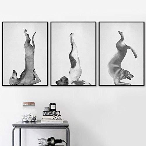 YANQIN Lienzo de arte para bailar yoga, gato, perro, mono para pared, póster nórdico, póster y impresiones de pared para decoración de sala de estar, marco de 40 x 60 cm