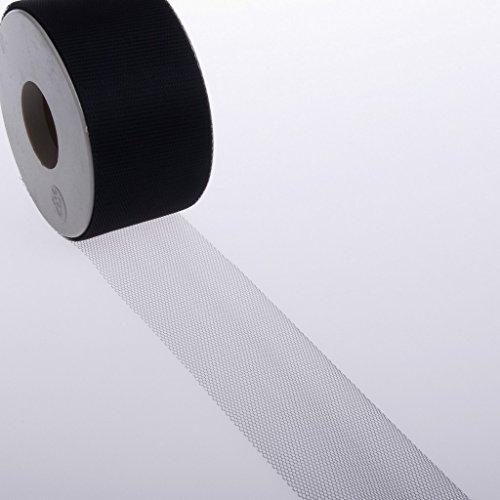Ruban Tulle - Ruban - Tissu décoratif - Tulle - Mariage - Fete - Noir - 50 mm de largeur - Rouleau de 50 mètres - 679 50 31