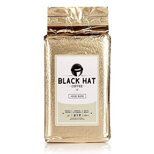 BLACK HAT COFFEE House Blend – Premium Filter-Kaffee aus Robusta-und Arabica-Bohnen – Röst-Kaffee gemahlen 12 x 500 g (6 kg)