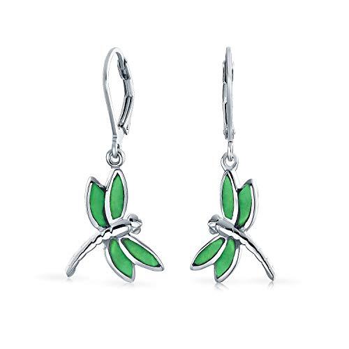 Dainty mariposa libélula jardín verde ágata simulado Jade incrustado gota palanca hacia atrás...