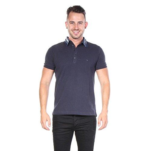 Diesel Herren Serpico Denim Collar Polo Shirt, Blau, Small