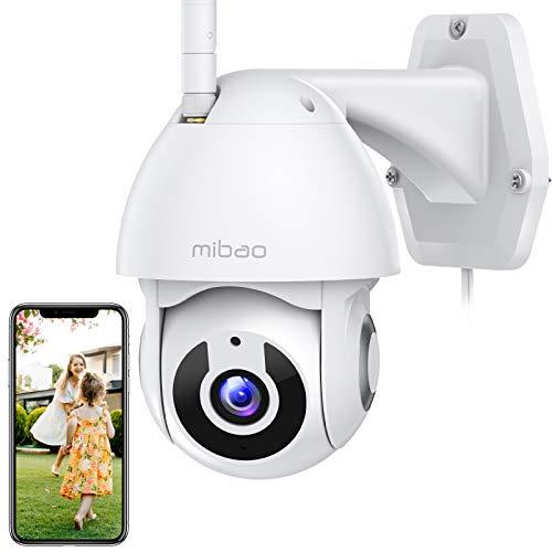 1296P Cámara de Vigilancia interior/exterior, Mibao Cámara visión panorámica/inclinable de 360°, IP66, visión nocturna, detección de movimiento, audio de 2 vías, APP iOS/Android, funciona con Alexa