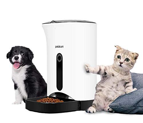 Caiven Futterautomat Katze, Futterspender für Katzen mit Timer, 4.3 Liter, Automatischer Futterspender bis zu 4 Mahlzeiten am Tag, Futterspender Katze mit Sprachaufnahmen Funktion