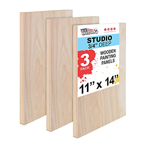 U.S. Art Supply 11' x 14' Birch Wood Paint Pouring Panel Boards, Studio 3/4' Deep Cradle (Pack of 3) - Artist Wooden Wall Canvases - Painting Mixed-Media Craft, Acrylic, Oil, Watercolor, Encaustic