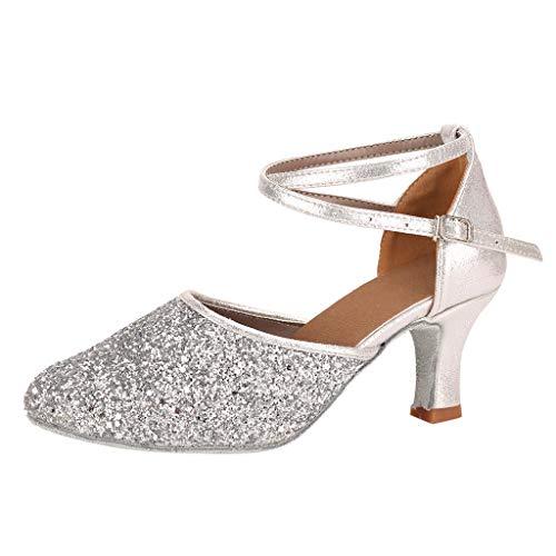 Damen Standard Latein Tanzschuhe Mode Elegant Ballsaal Tango Salsa Schuhe Party Hochzeit Pailletten Glitzer Weicher Boden Geschlossen Knöchelriemen Celucke (Silber, EU39)